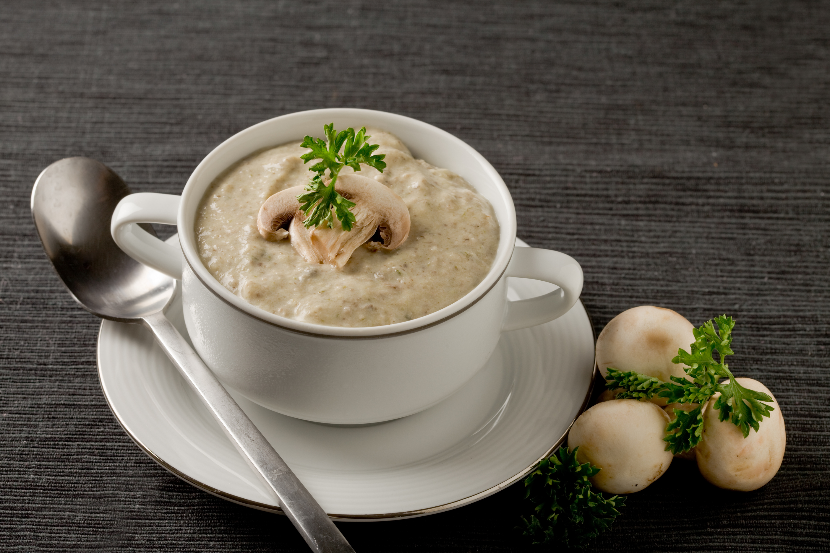 photo of delicious mushroom cream soup with parsley on grey towel